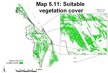 A map of suitable vegetation cover in MINWR. This map was created          using a vegetation map derived from LANDSAT images and vegetation         height covers derived from a KSC LIDAR data set.