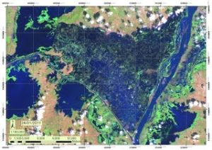 LANDSAT 7 ETM+ image, (SLC-OFF corrected) of the flooded area about two months after the beginning of the flooding.